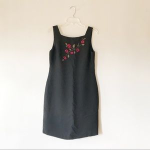 Casual Corner Dresses - Red Flowers Embroidered Black Dress